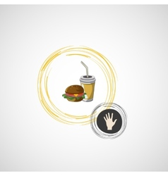 Icon of fast food sandwich and a drink vector