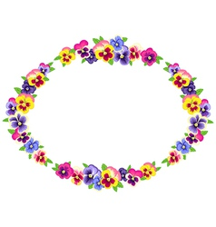 pansy wreath vector image vector image