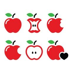 Red apple apple core bitten half icons vector image