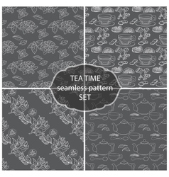 Set Tea Time seamless pattern of the doodle vector image vector image
