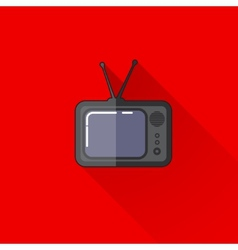 vintage of a retro TV in flat style with long vector image vector image