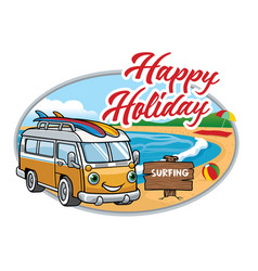cartoon of vintage van at the beach vector image vector image