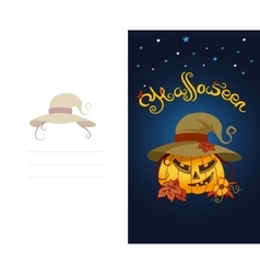 Halloween greeting card with scary pumpkin wearing vector