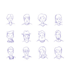 hand drawn people characters portrait avatars vector image