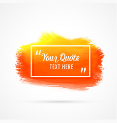 orange watercolor stain background with text space vector image vector image