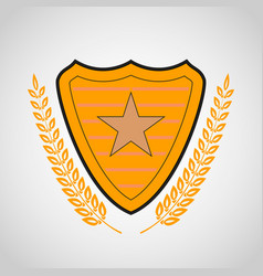 Shield with star symbol vector