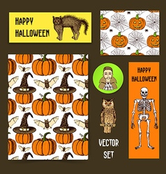 Sketch halloween set vector