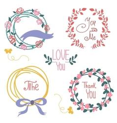 Wedding graphic set wreath flowers arrows vector image vector image