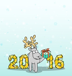 Background with doodle reindeer and Christmas vector image vector image