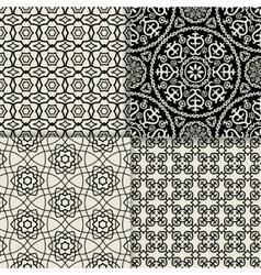 Black and white geometric ornate patterns vector image vector image