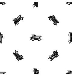 dump truck pattern seamless black vector image