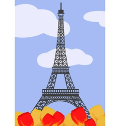 Eiffel tower with tulips vector image vector image
