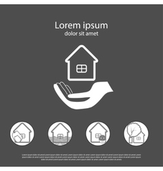 House insurance logo with insurance cases icons vector image