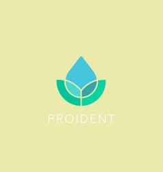 eco water drop logotype leaf spa flower vector image vector image