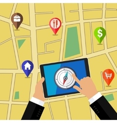 Gps concept in flat style vector image
