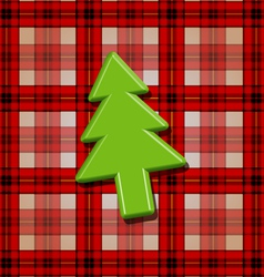 Green fir tree over checkered background vector image vector image