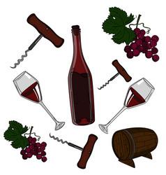 hand drawn set - wine and winemaking vector image