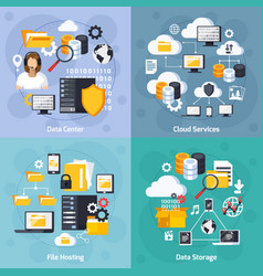 hosting services concept icons set vector image