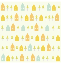 Houses and spruces pattern vector image vector image