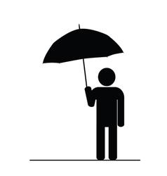 man with umbrella black vector image