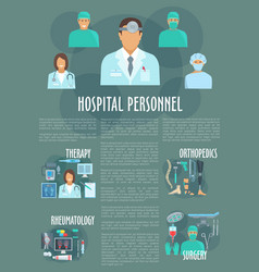 medical or hospital personnel infographics vector image vector image