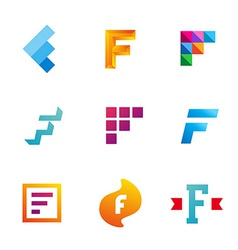 Set of letter F logo icons design template vector image vector image