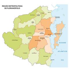 administrative map florianopolis brazil vector image