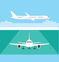 Airplane in the sky and on the runway airliner in vector