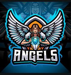 angels esport mascot logo design vector image