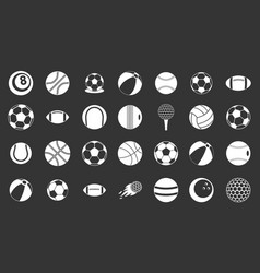 ball icon set grey vector image