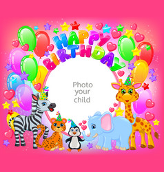 Birthday party cute animal pink frame your baby vector