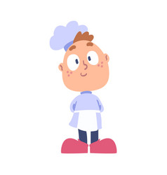 Boy chef cook cute child cooker character wearing vector