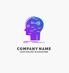 Brain hack hacking key mind purple business logo vector