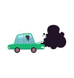 Broken car cracked glass smoke from hood vector