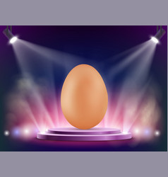 brown chicken egg on stage easter background vector image
