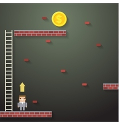 Businessmen climbing the ladder on dark vector image