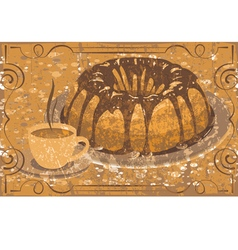 Cake with glaze and a cup of hot drink grunge vector image