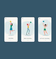 cartoon woman playing basketball - phone sport app vector image
