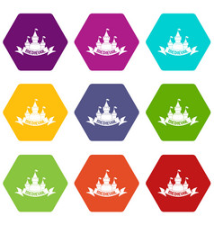 castle icons set 9 vector image