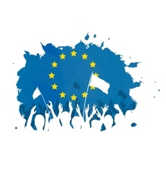 Celebrating Crowd with European Union flag vector image