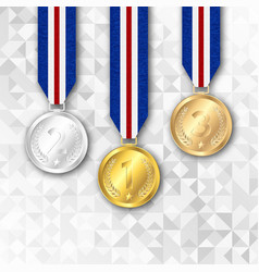 Champion medal with ribbon vector