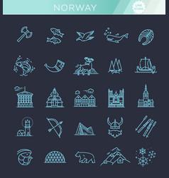 City sights icons norway landmark vector