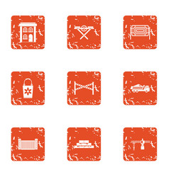 Civil machinery icons set grunge style vector