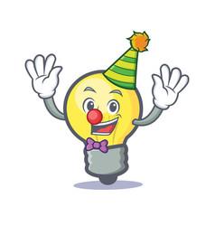 Clown light bulb character cartoon vector