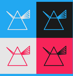 color line light rays in prism icon isolated vector image