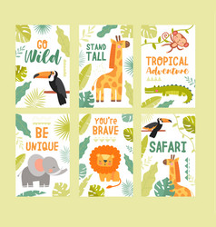 colorful tropical wildlife safari travel posters vector image