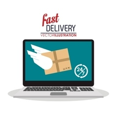computer wings box package delivery icon vector image