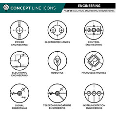 Concept line icons set 01 engineering vector