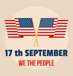 Constitution american day people background flat vector