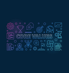 Core values horizontal colorful outline vector